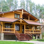 Wood Mansion In Pine Forest