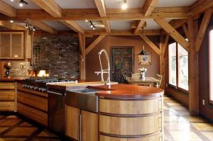eclectic-kitchen-design-wooden-kitchen-island-modern-timber-framed-home